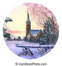 Morning winter landscape with chirch hand-drawn with...