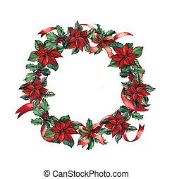Christmas wreath with berries and poinsettia flowers...