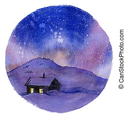 petite maison, hiver, nuit
