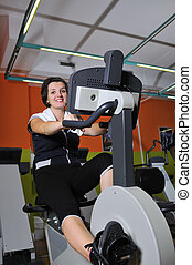 Young woman working out in gym - Young woman working out in...