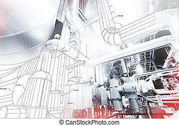 wireframe design of pipelines mixed with photo