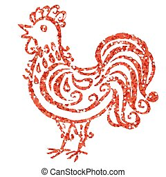 Golden glitter rooster - Red glitter rooster isolated on...