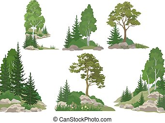 Landscapes with Trees and Rocks - Set Landscapes, Isolated...