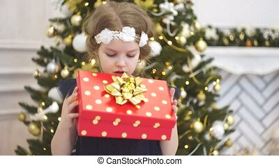 Boxing day. Cute little girl rejoices to a Christmas gift....