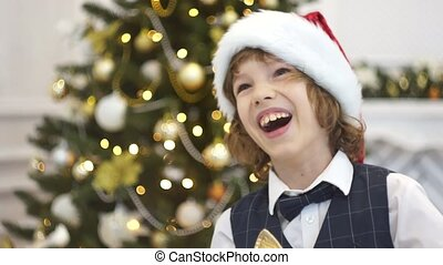 Cute boy of younger school age laughs near the Christmas...
