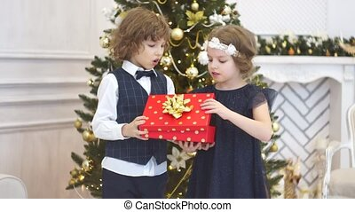 Two children of younger school age open the Christmas gift.