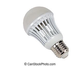 LED energy saving bulb. Light-emitting diode. Isolated...