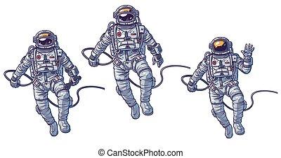 Vector set of illustrations cosmonauts