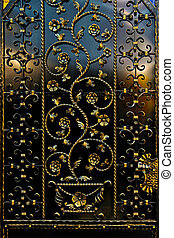 Ironwork fence - Ironwork black fence with golden floral...