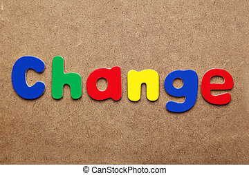 Change word made of colorful magnets