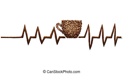 Coffee beat. - Creative still life photo of a coffee cup and...