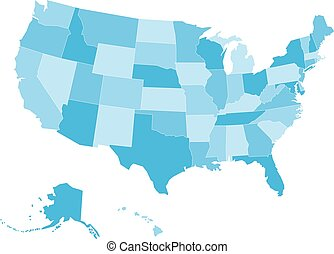Blank vector map of USA in four shades of blue - Blank map...
