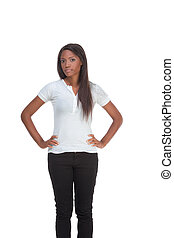 Ethnic black young woman in jeans and white t-shirt -...