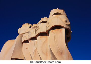 Barcelona and Gaudi: La Pedrera - On the terrace of the Casa...