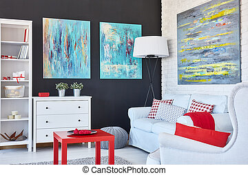 Art living room - Stylish living room decorated with art and...
