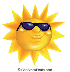 Funky fashionable sun wearing spectacles Vector illustration...