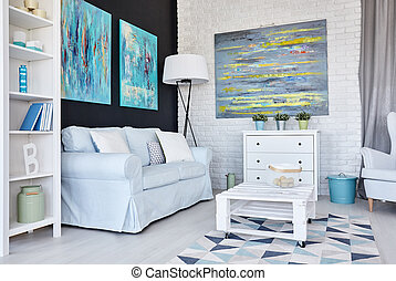 Creative living room - Creative white living room decorated...