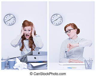 Late and punctual worker - Late and punctual office worker...