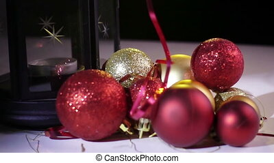 Balls And Candlelight Lamp - Christmas still life with balls...