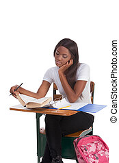 College student African American woman by desk - nglish...