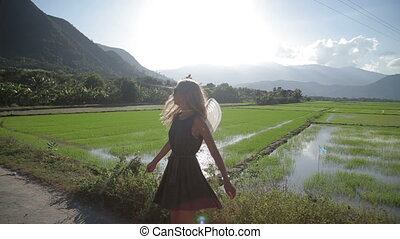 beautiful woman at rice fields, Vietnam.