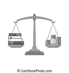 Books and coins on scales icon. Knowledge is wealth concept. Symbol in trendy flat style isolated on white background.