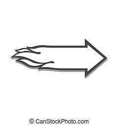 Flaming arrow icon. Speed concept. Symbol in trendy flat...