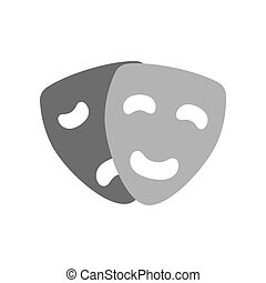 Comedy and tragedy masks icon. Theatre concept. Symbol in...