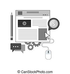 Blog icon.  Managing website concept. Symbol in trendy flat style isolated on white background.