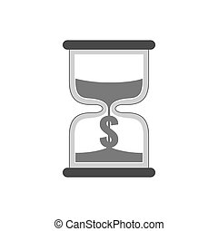 Hourglass with dollar sign icon, time is money concept. Symbol in trendy flat style isolated on white background.