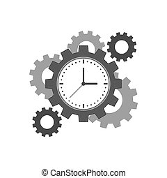 Clock with cogwheels icon. Time management concept. Symbol...