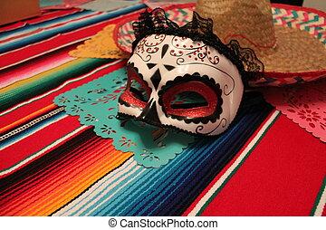 Mexico poncho sombrero skull background fiesta cinco de mayo...