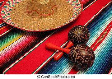 Mexico poncho sombrero maracas background fiesta cinco de...