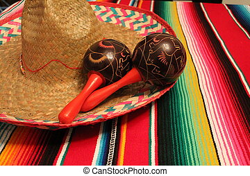 Mexico poncho sombrero maracas background fiesta cinco de...