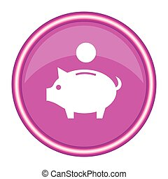 Pig icon on a pink background. Vector illustration.