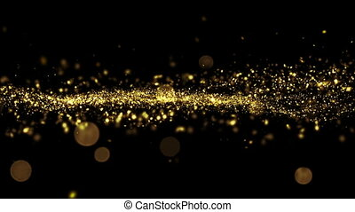 Beautiful Luxury Golden Particles Moving Seamless with Bokeh Blur. Looped 3d Animation in Slow Motion.