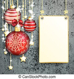Hanging Board Red Baubles Golden Stars Concrete Christmas