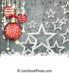 Concrete Christmas Cover Red Baubles White Stars Snow