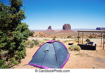 Camping tent Monument valley landscape in USA - Camping tent...