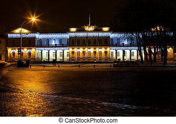 Night view of the Presidential Palace in Vilnius, Lithuania....