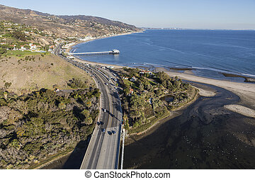 Pacific Coast Highway and Malibu Pier Aerial - Aerial of...