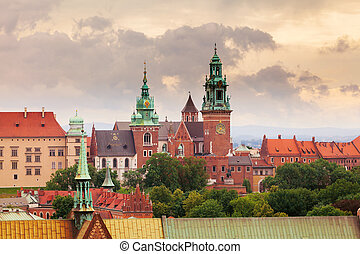 View of Wawel Castle from clock tower in the main Market...