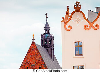 Main Market Square in Krakow. Fragment of a building near...