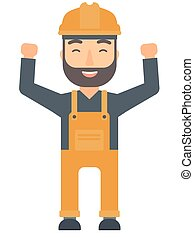 Engineer standing with raised arms up. - Caucasian hipster...