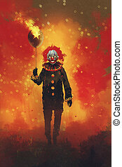 evil clown standing with a balloon on fire...