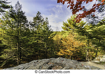 Fall foliage Purgatory Chasm - Fall foliage from rocky high...