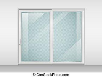 Contemporary sliding door - Modern wide sliding door with...