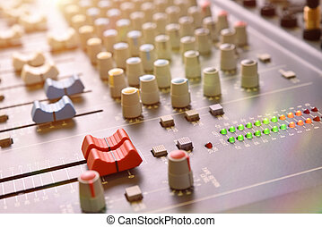 Close up sound mixer elevated view with light - Buttons...