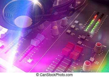 Close up sound mixer dj elevated view - Close up headphones...