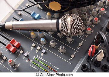 Recording equipment in studio elevated view - Recording...